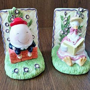 Humpty dumpty and mother goose otigiri bookends